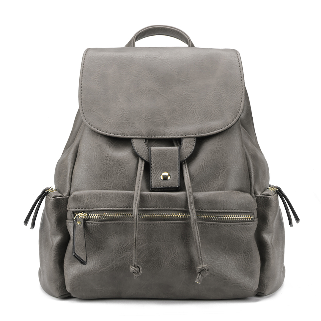 Grey Leather look Backpack with big Front Pocket