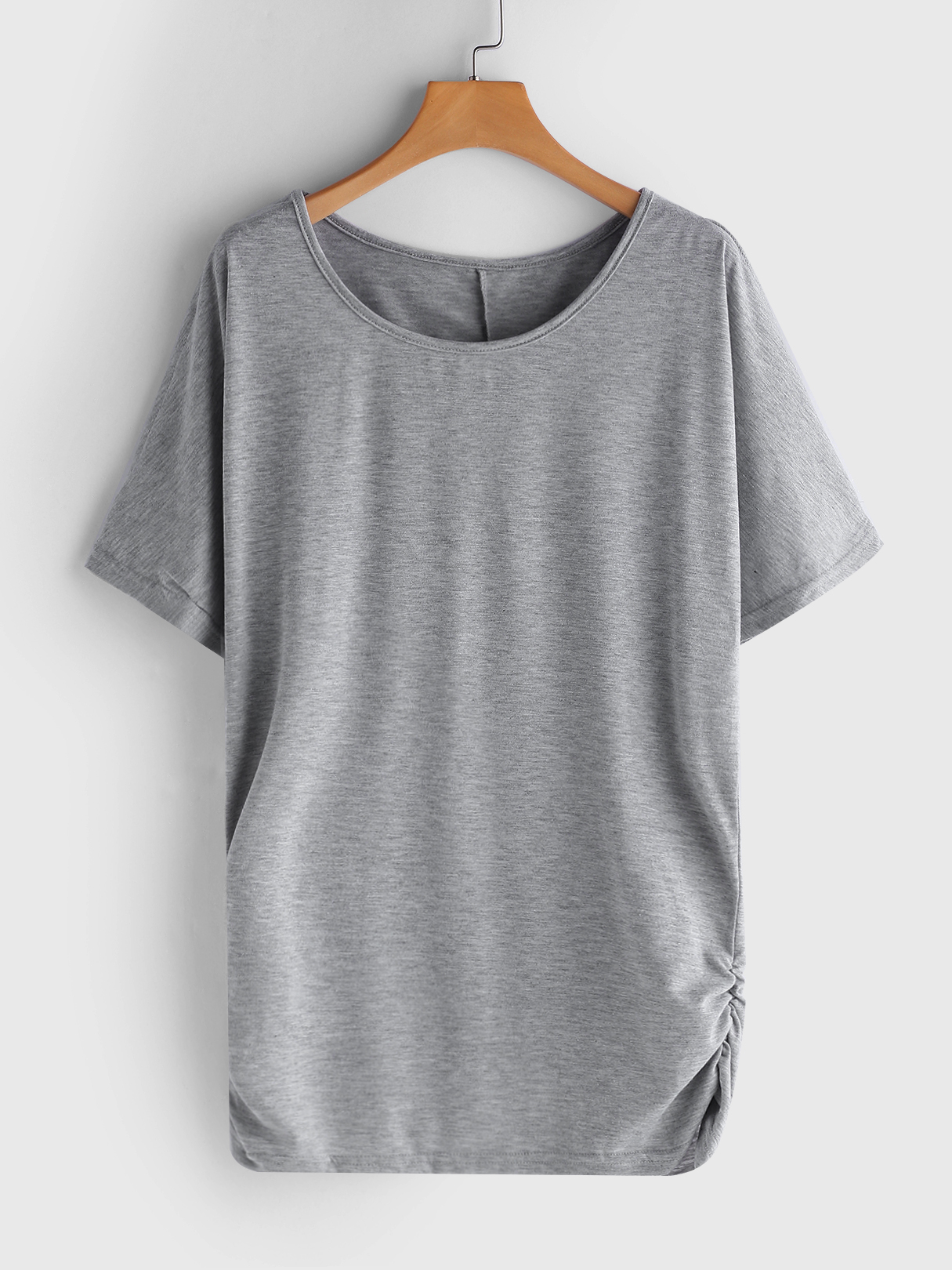 Grey Pleated Design Round Neck Bat Sleeves T-shirts black pleated design round neck bat sleeves t shirts