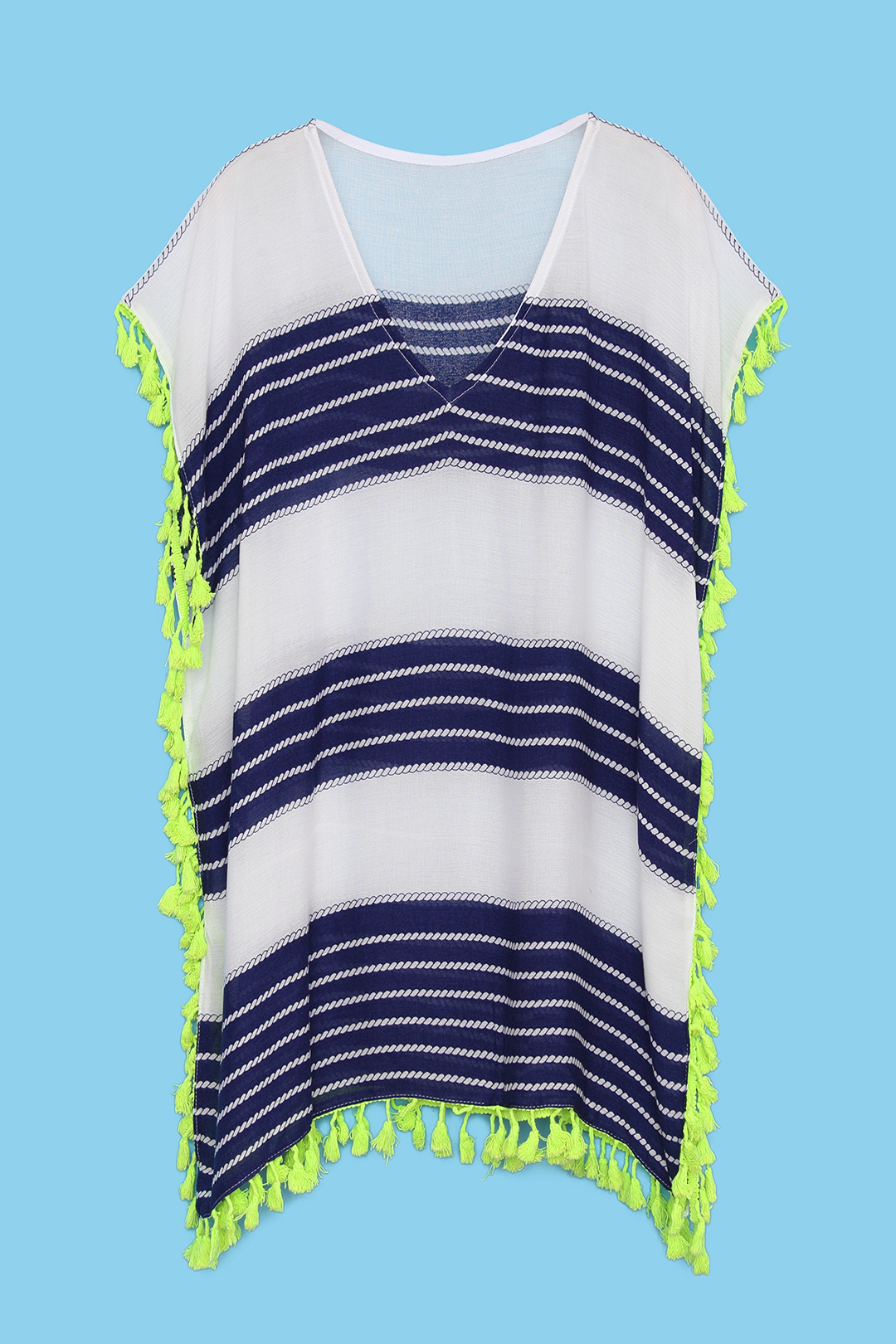 Stripe V-neck Beachwear with Tassel Details