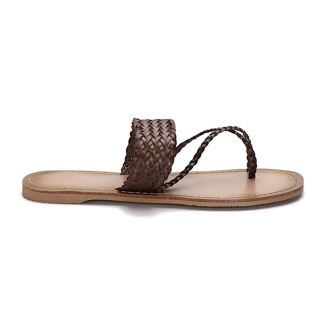 Brown Woven Strap Toe Post Fashion Style Flat Slippers