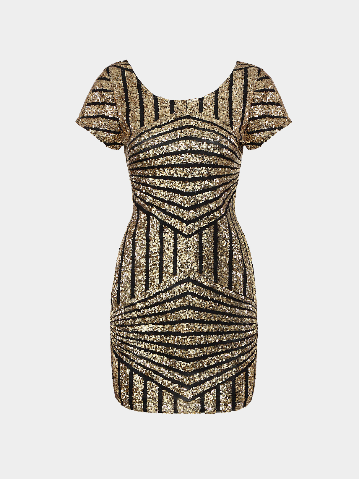 Gold Geometric Sequin Short Sleeve Open Back Dress zip back fit and flared plaid dress