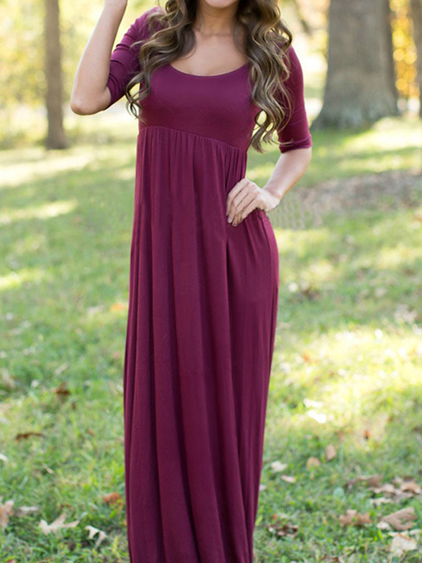 Burgundy Round Neck High-waisted Dress