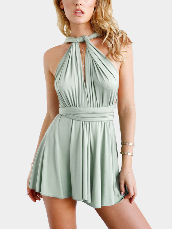 V-neck Open Back Multiway Dress in Green