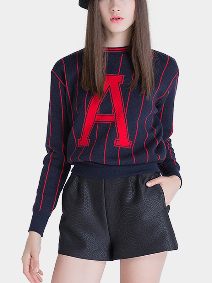 Letter Printing Knitted Jumper in Navy