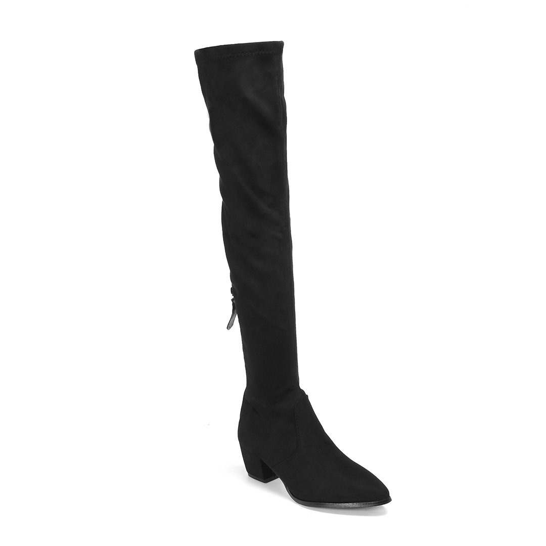 Black Suede Chunky Heels Over The Knee Boots with Back Zipper