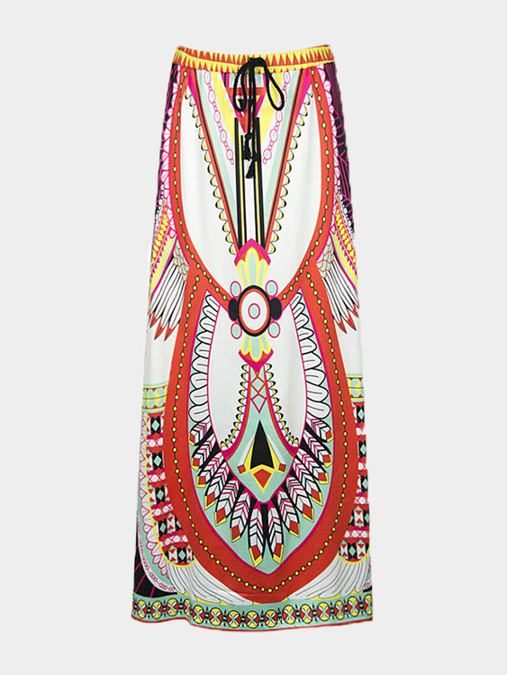 White Folk Color Block Geo Print Maxi Skirt