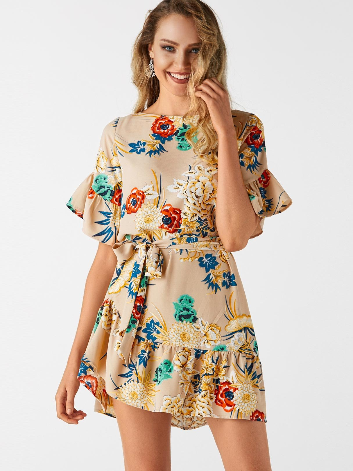 все цены на Khaki Random Floral Print Mini Dress With Half Flared Sleeves
