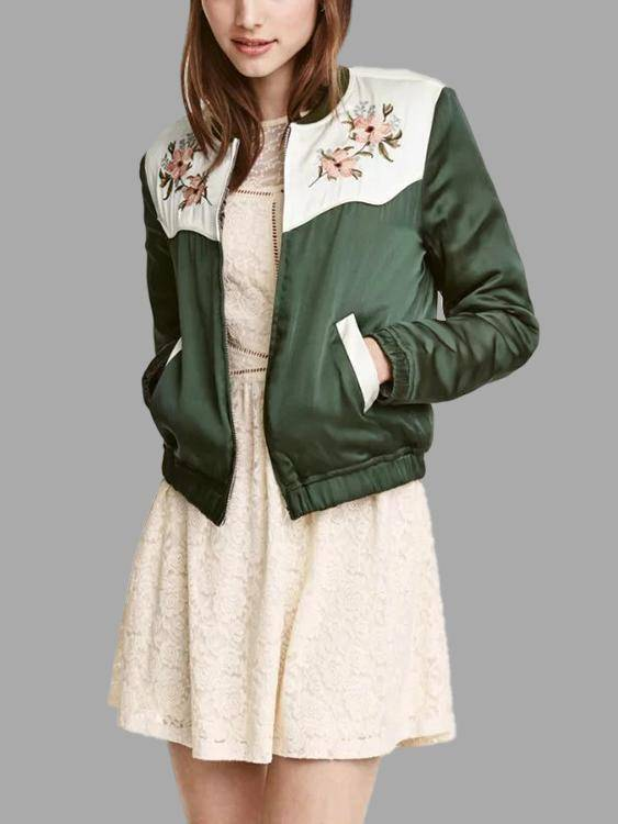 Green Embroidery Pattern Pocket Front  Jacket