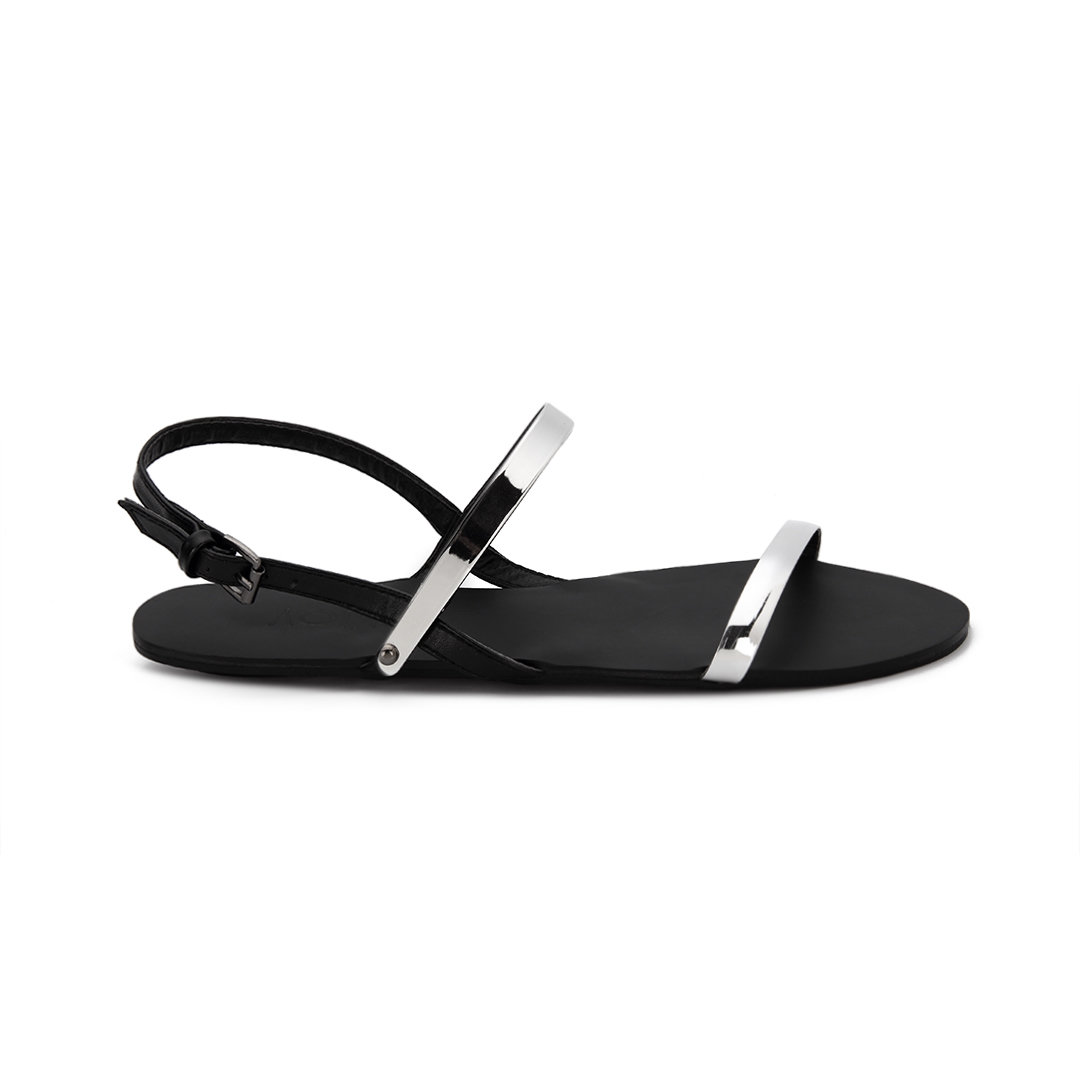 Black Sling Back Flat Sandals With Silver Metallic Strap Over