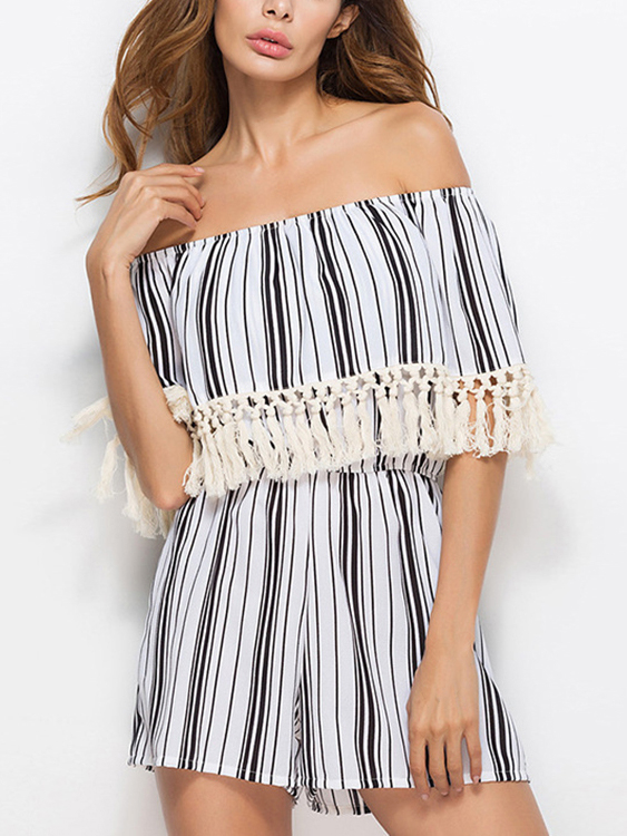 Off Shoulder Stripe Pattern Tassel Embellished Tiered Playsuit stripe pattern off shoulder long sleeves waist tie playsuit with tassel detail page 7