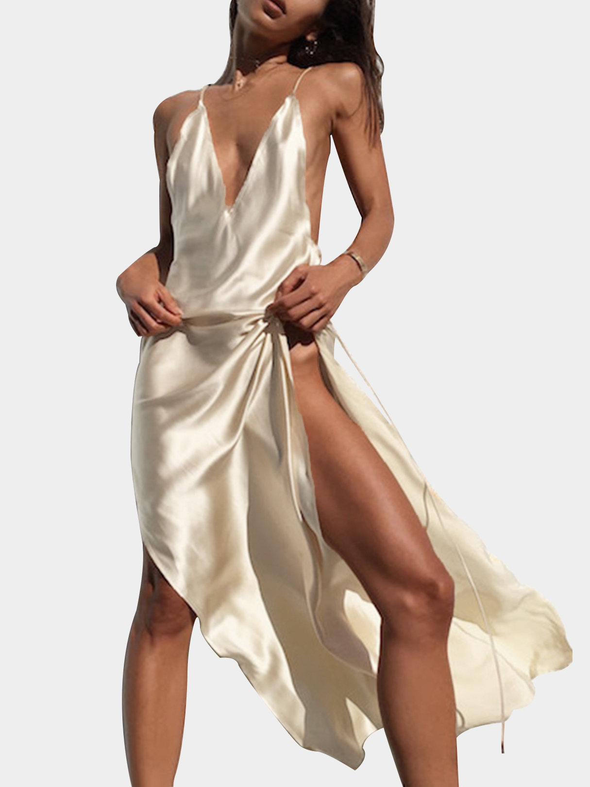 Apricot Satin Deep V-neck Splited Hem Maxi Slip Dress