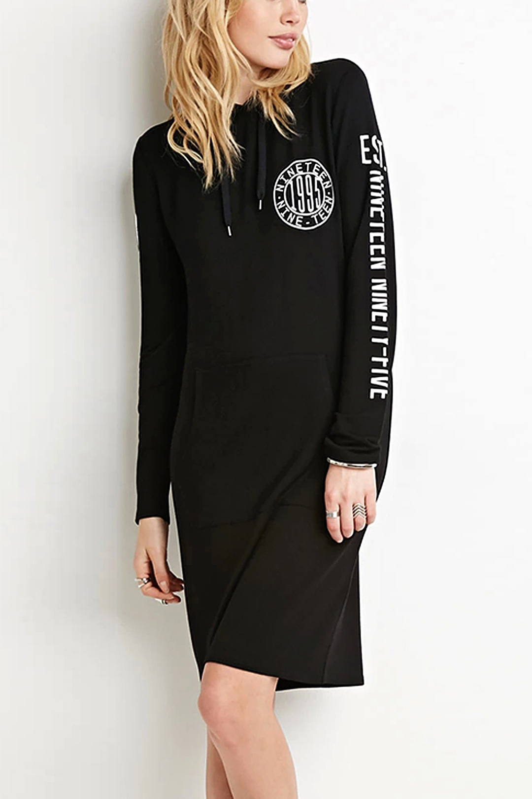 Sports Hooded Long Sleeves Alphabet Pattern Dress