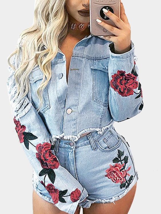 Ripped Embroidery Denim Jacket