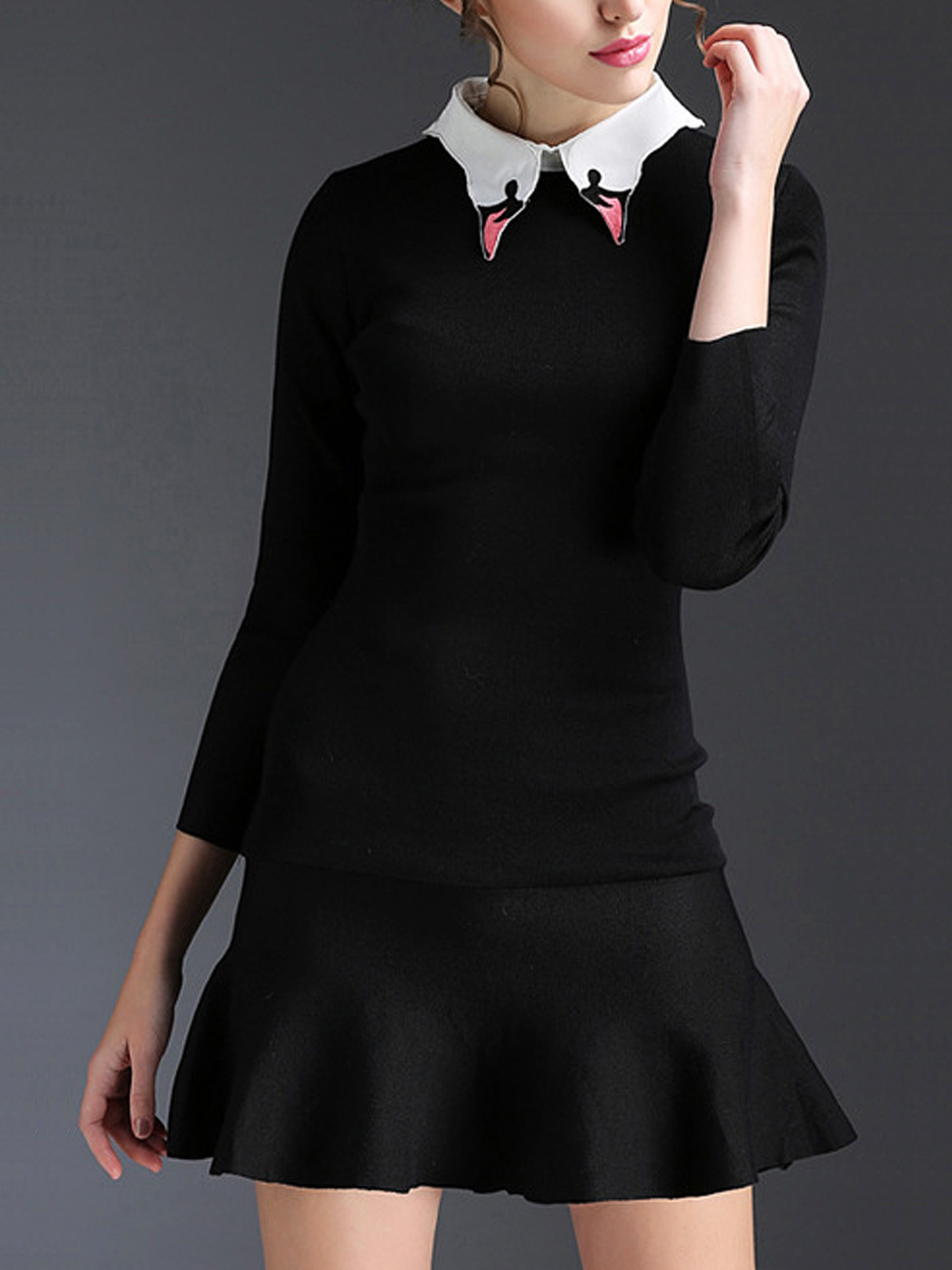 Black Stitching Pointed Collar Flounced Hem Mini Dress