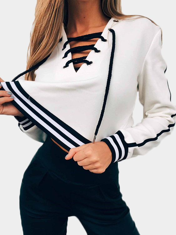 White Stripe V-neck Lace-up Front Crop sweatshirts fashion stripe v neck lace up front crop top