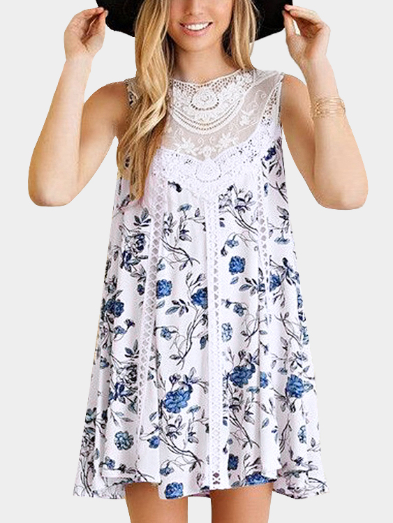 Random Floral Print Crew Neck Lace Details Shift Dress