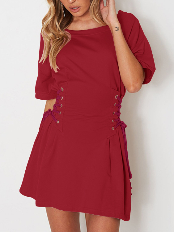 Burgundy Lace-up side Half Sleeves Mini Dress
