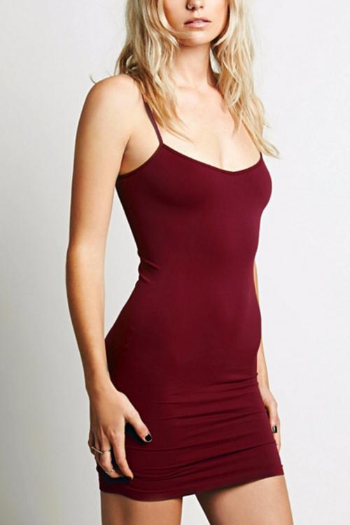 Burgundy Cami Bodycon Mini Dress