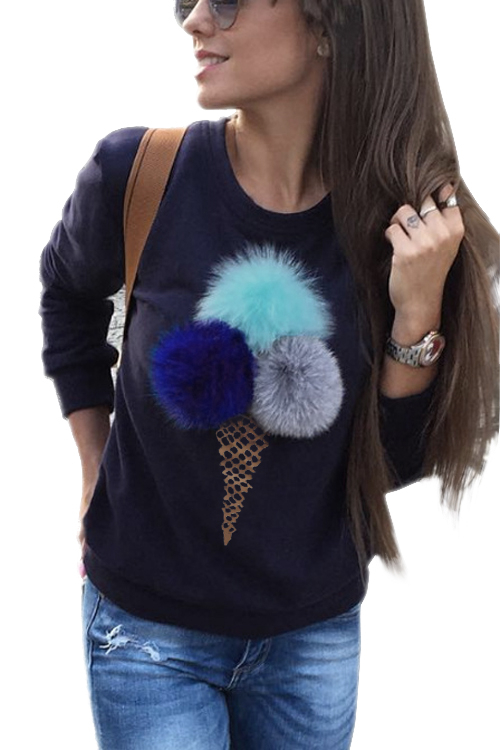 Navy Round Neck Sweatshirt with Pom Pom Details grey fashion round neck long sleeves pom pom details sweatshirt