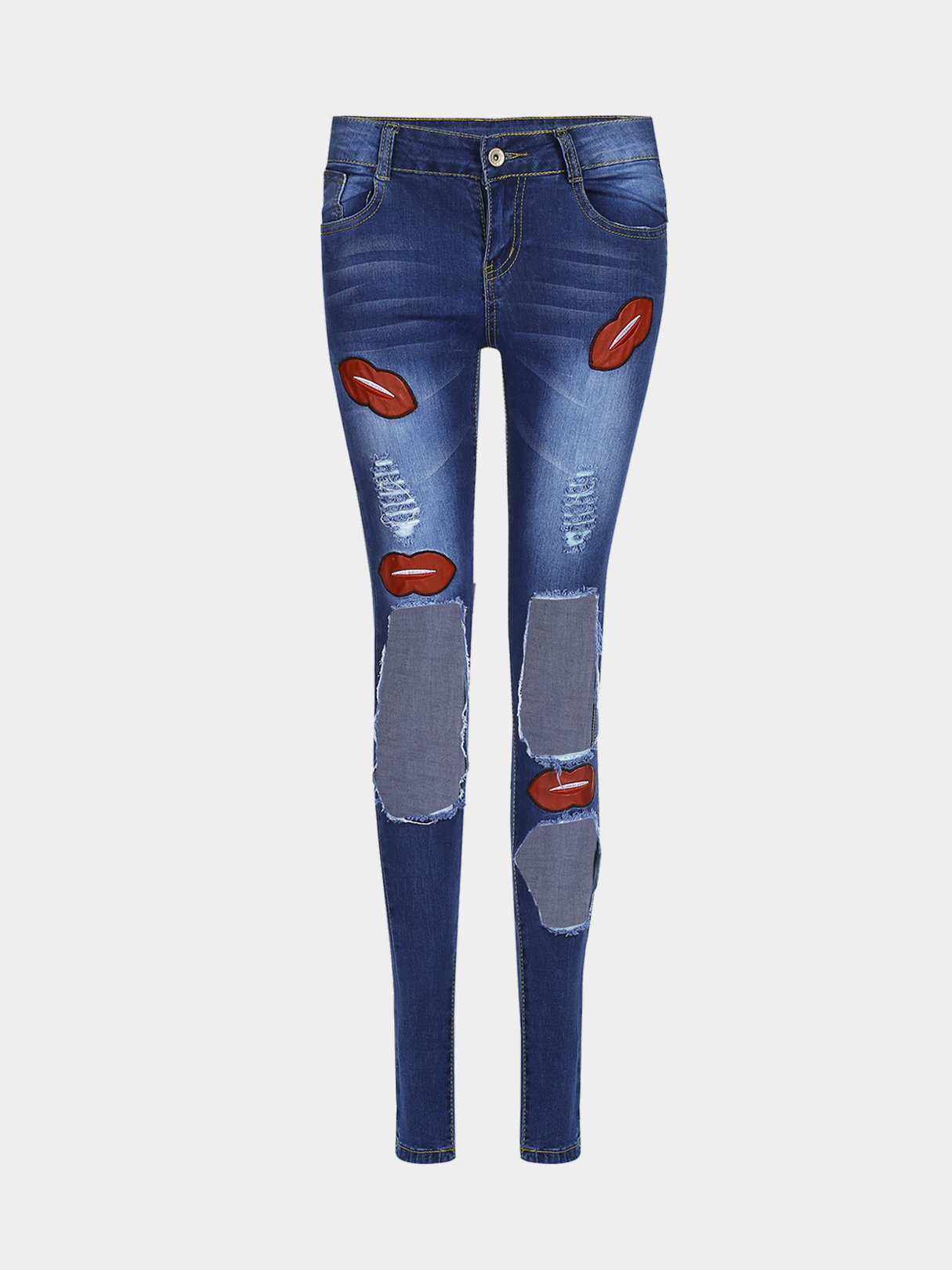 Fashion Cut Out Ripped Skinny Jeans With Lip Pattern
