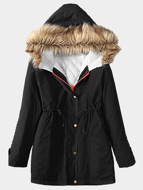 Black Fur Hooded Lace-up Thickened Padded Coat dark green fur hooded lace up thickened padded coat