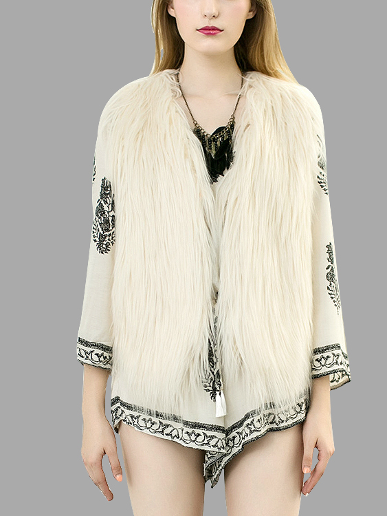 White Fashion Sleeveless Artificial Fur Open Front Coat
