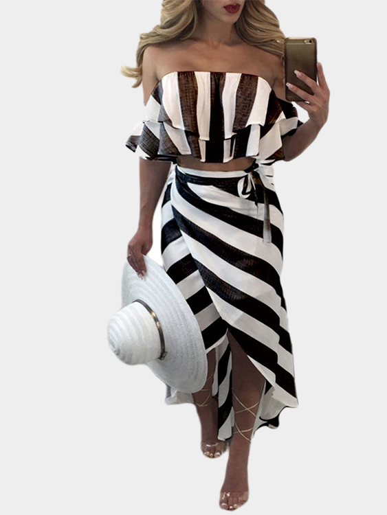 Black Stripe Crop Top & Slit Midi Skirts Co-ord