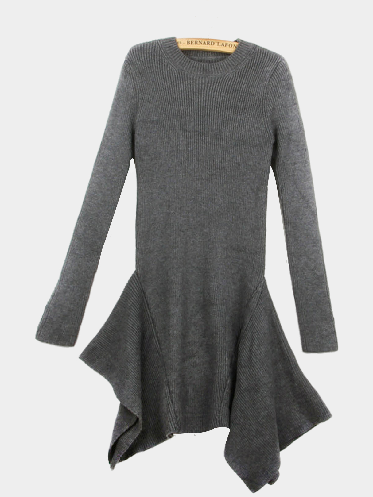 Grey Long Sleeve Asymmetric Dress In Knit