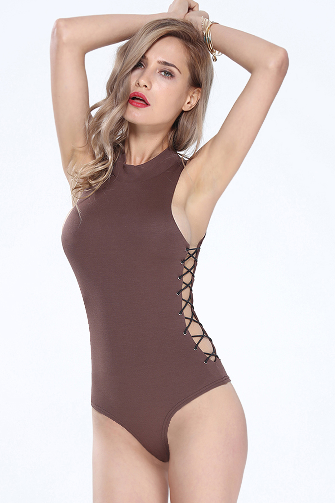 Lace-up Back Cut Out Bodysuit от Yoins.com INT