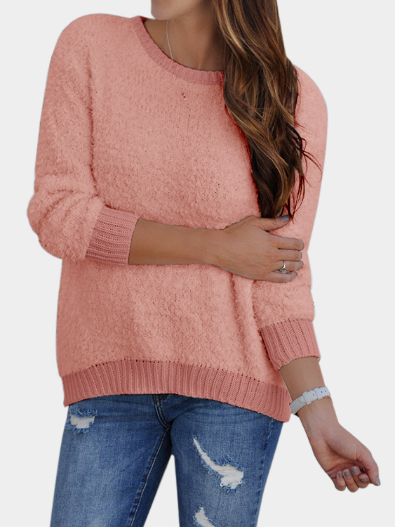 Pink Round Neck Plush Knitted Details Sweater