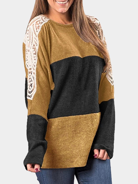 Black Lace Details Stitching Design Round Neck Long Sleeves T-shirt yellow and black round neck loose t shirt with button design