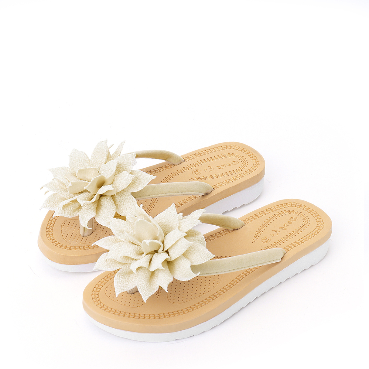 Vocation Flower Decoration Slippers in White brady b 401 polystyrene rectangle white personal hygiene sign 14 in width x 10 in height text this is your wash room please help keep it clean 22856 [price is per each]
