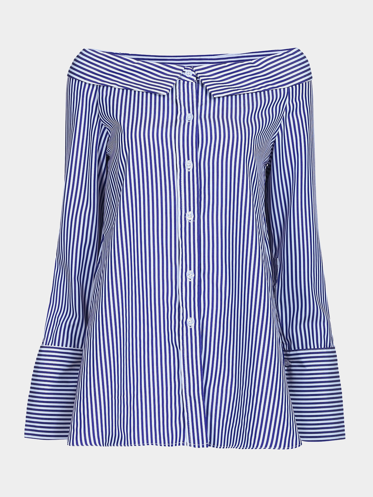 Loose Off Shoulder Stripe Pattern Button Front Shirt blue bowknot stripe pattern off shoulder shirt