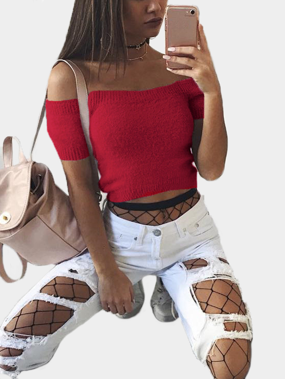 Red Solid Color Off Shoulder Crop Bodycon Sweaters Vests