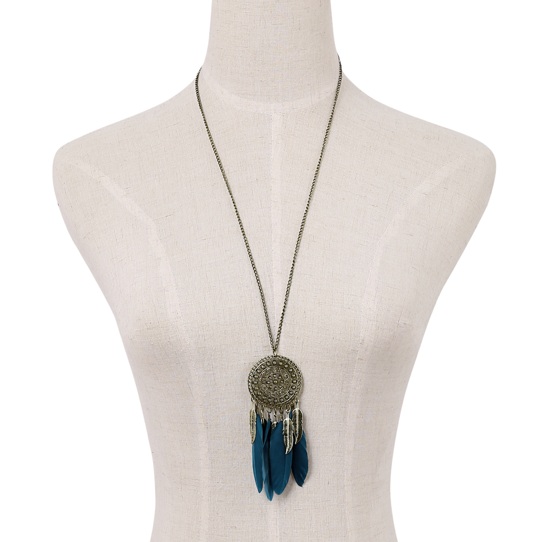 Blue Feather Carved Leaves Hollow Design Long Chain Necklace