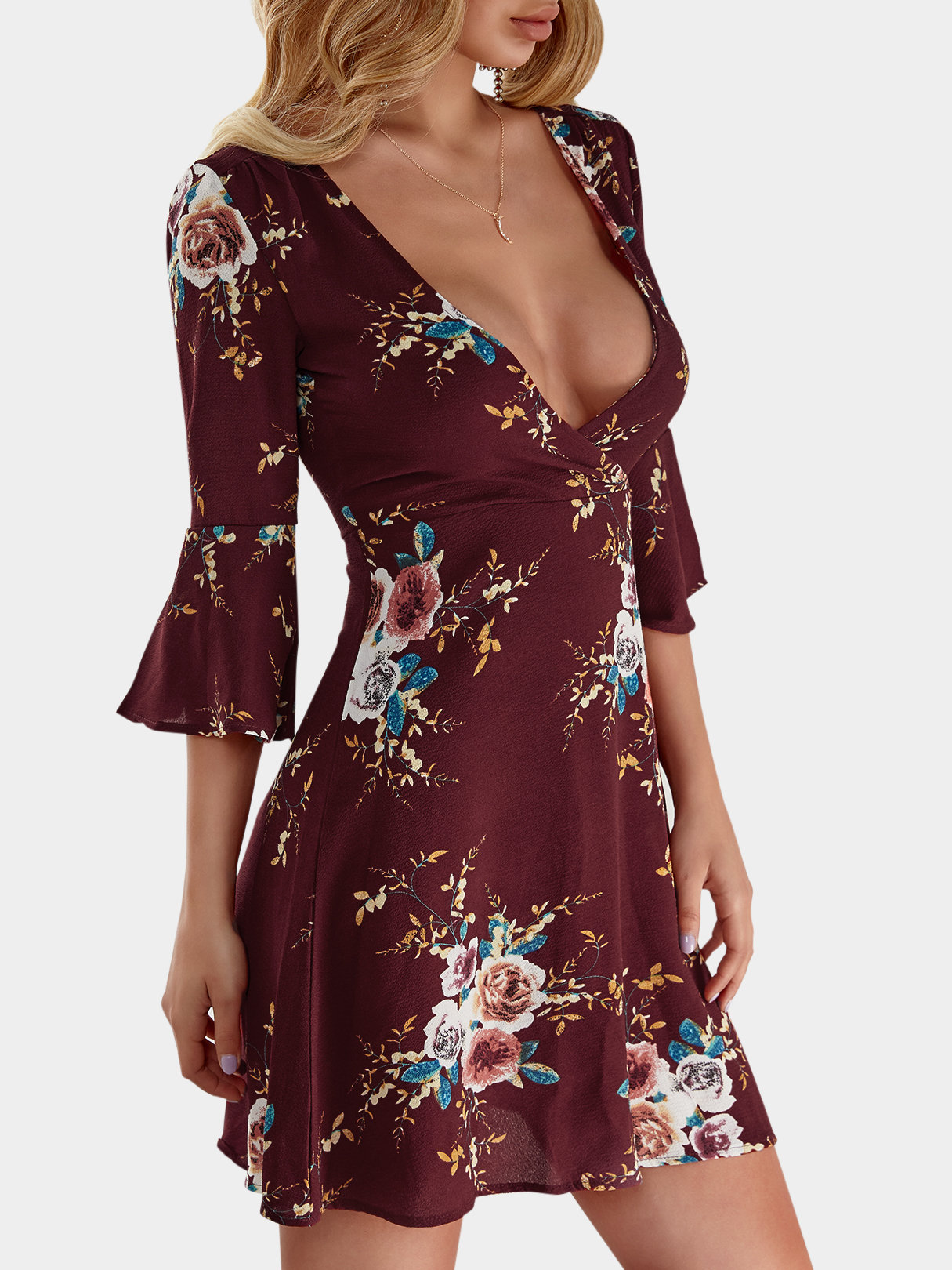 Burgundy Random Floral Print Crossed Collar Bell Sleeves Dress with Zip Design zip back stand collar plaid dress