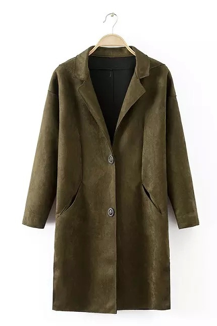 Green Lapel Single Breasted Suedette Coat