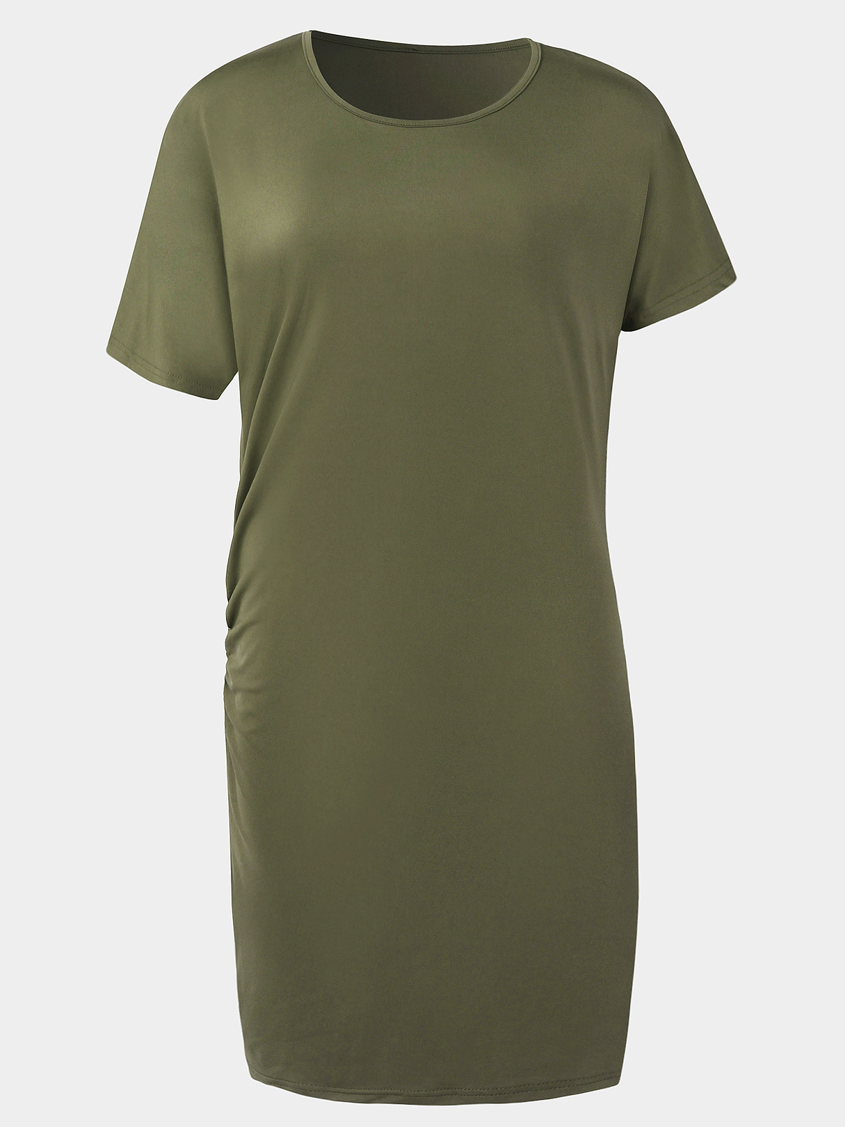 Green Pleated Design Plain Dress With Knee Length
