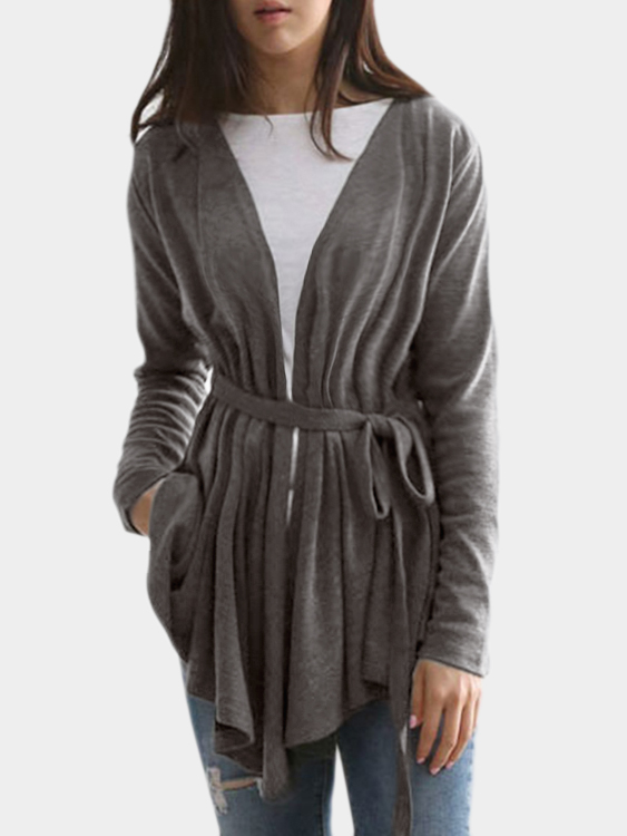 Grey Blue Self-tie Design Irregular Hem Cardigan