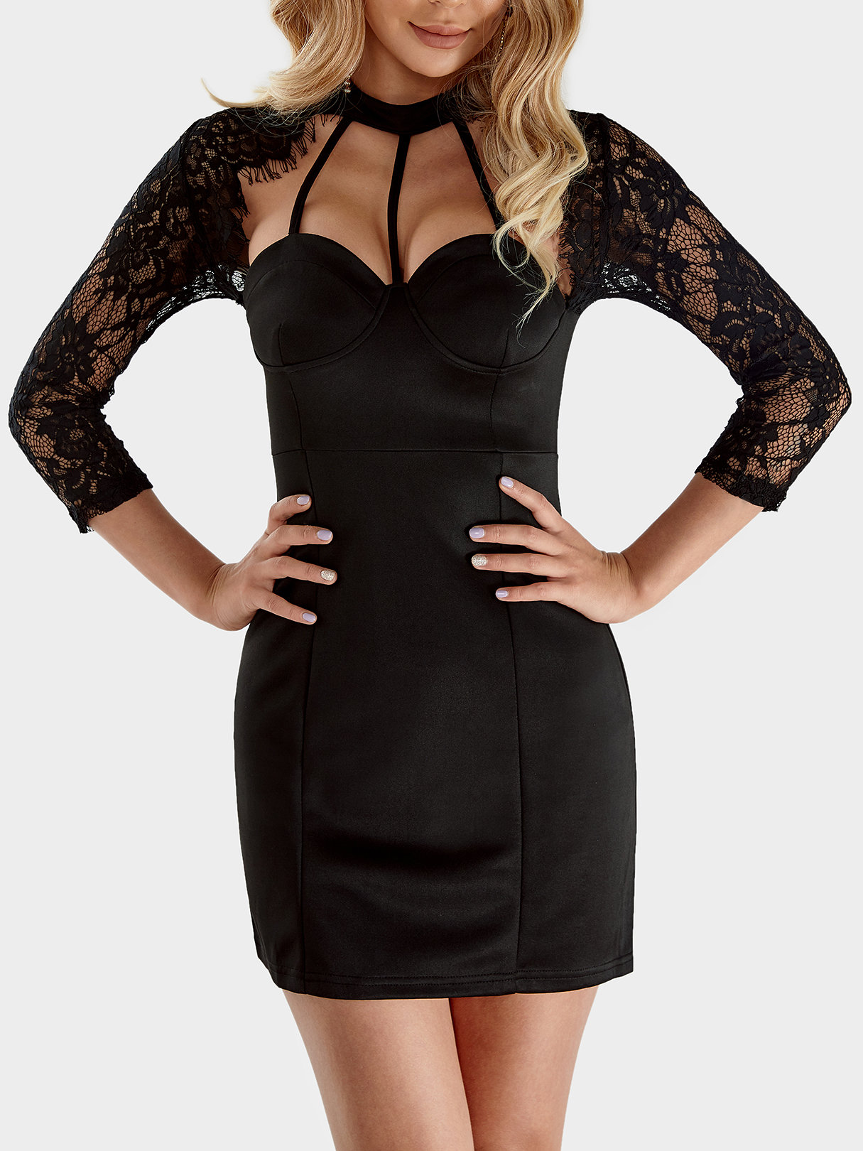 Black Lace Detail Long Sleeves Mini Dresses with Cut Out Design zip back fit and flared plaid dress