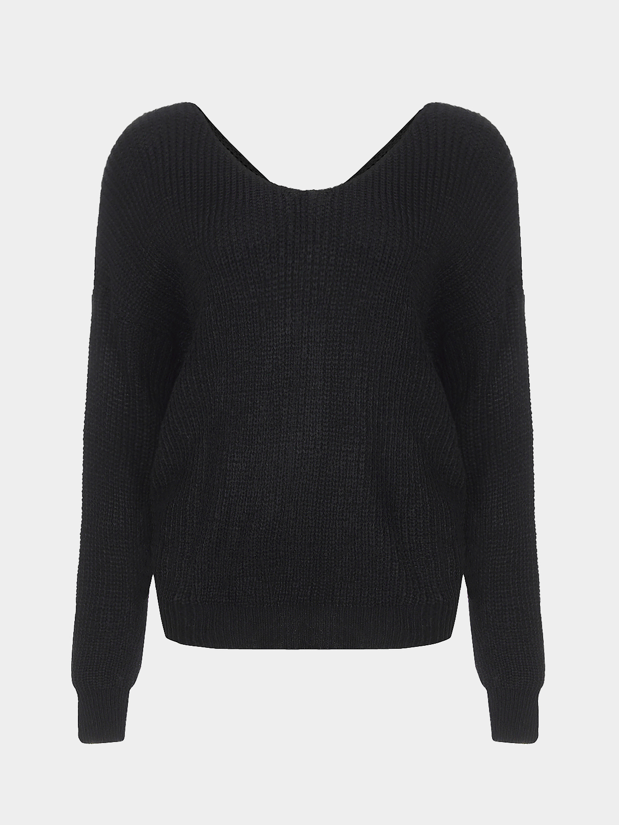 Black V-neck Long Sleeves Cross Back Sweater black sexy cross back bottoming jumper