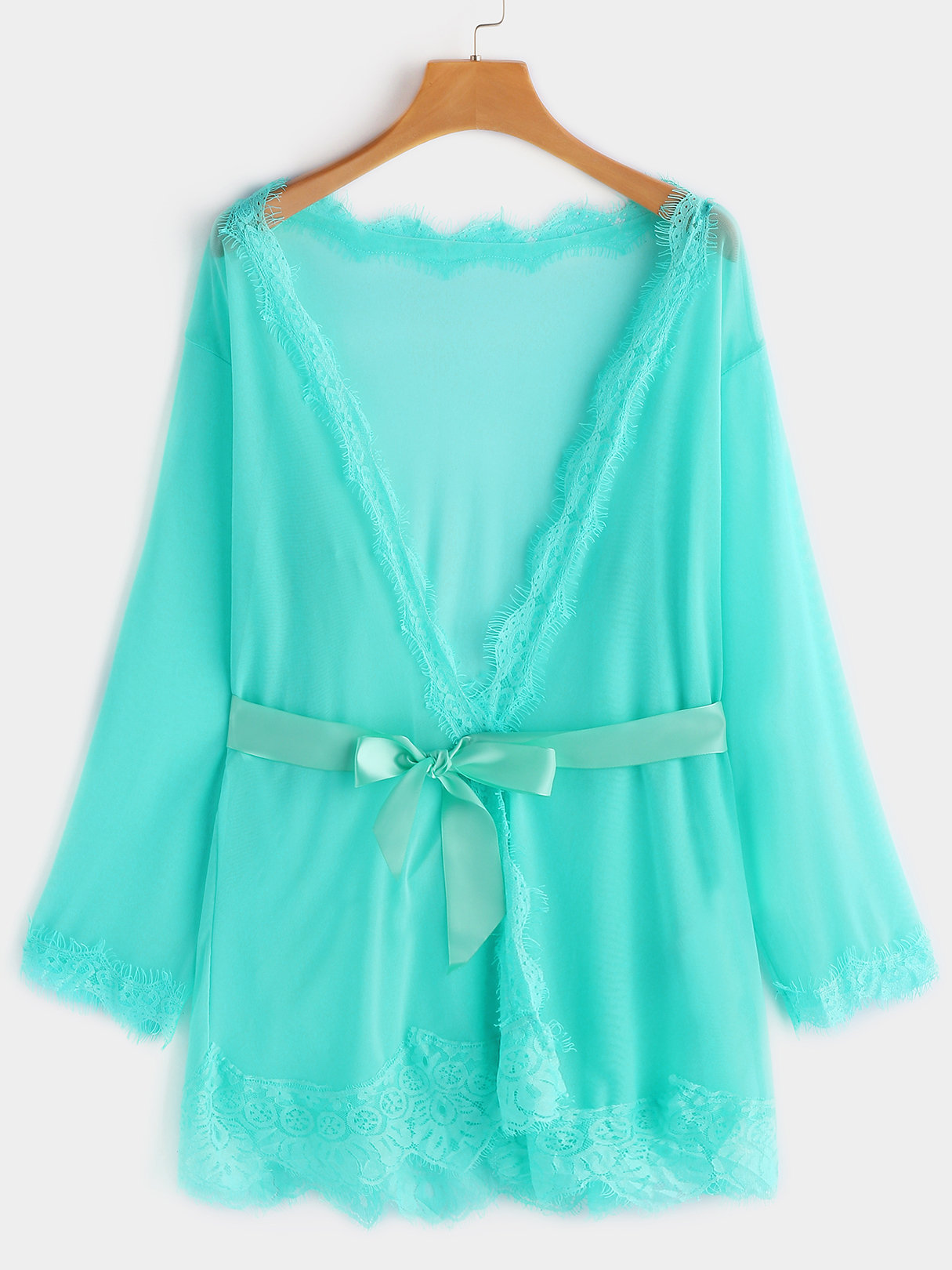 Green Sexy Deep V-neck Pajamas Set with Robe and T-back white sexy lace detail self tie waisted pajamas