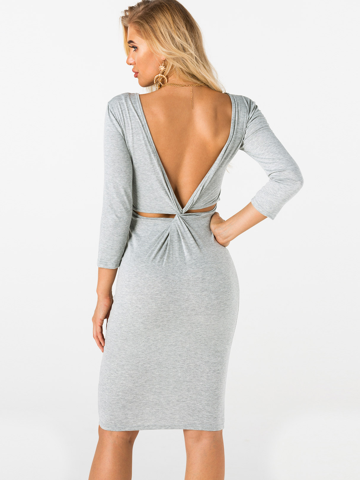 Grey Backless Design Plain Round Neck Long Sleeves Midi Dress grey lace up design plain round neck long sleeves sweater