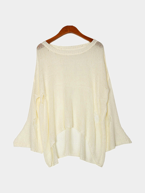 White Sexy See-through Long Sleeves Jumper with Rips Details
