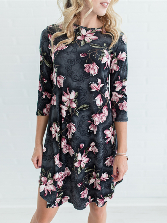 Grey Random Floral Print 3/4 Length Sleeves Midi Dress купить