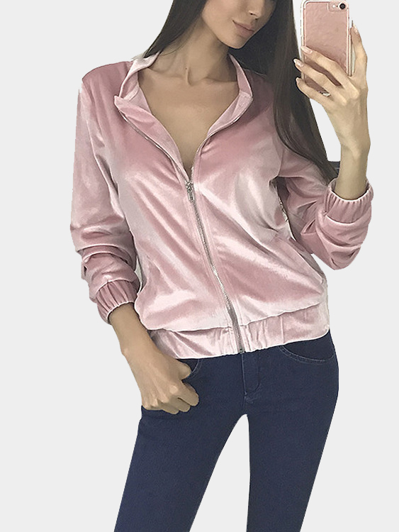 Velvet Stand-up Collar Elastic Hem Casual Jacket in Pink face print stand collar snap front jacket