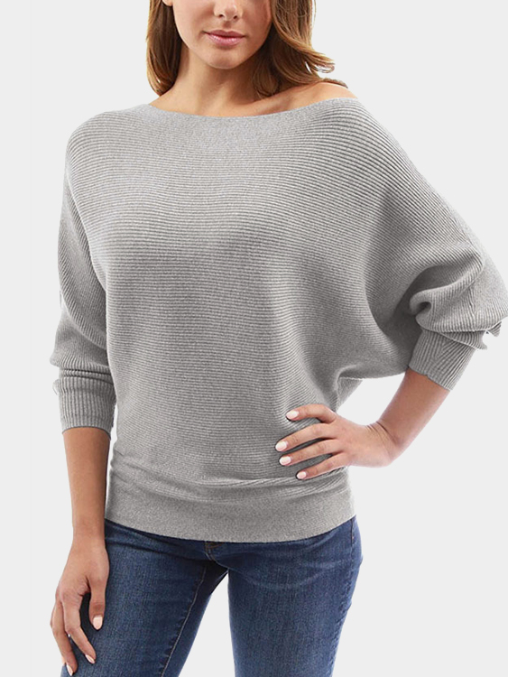 Grey One Shoulder Long Sleeves Sweater