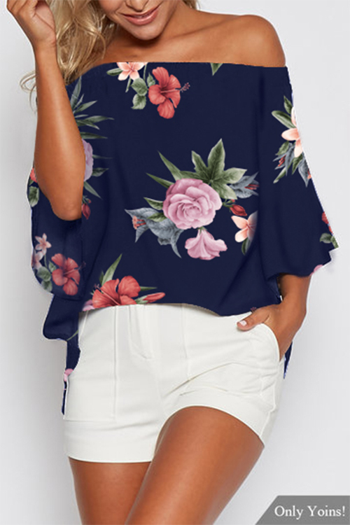 Random Floral Print Off Shoulder Splited Blouse in Navy