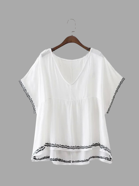 Semi Sheer White V-neck Loose Blouse semi sheer printing pattern shorts with pom pom trim