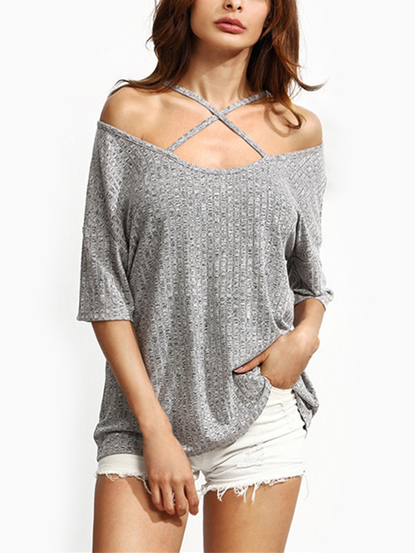 Grey Sexy Off Shoulder Half Sleeves T-shirt black cold shoulder half sleeves casual t shirt